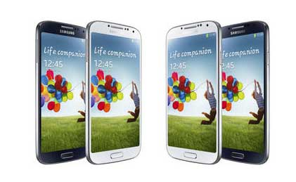 Samsung Galaxy S4 in white and black.